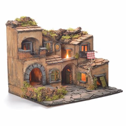 Borgo presepe con grotta stile 700 45x35x33 s2