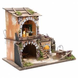 Borgo presepe e capanna 38x45x30 cm con forno e 10 luci s3