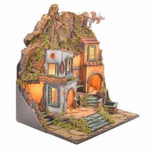 Presepe Napoletano: Borgo presepe napoletano stile 700 con 3 case e luce 57x50x40