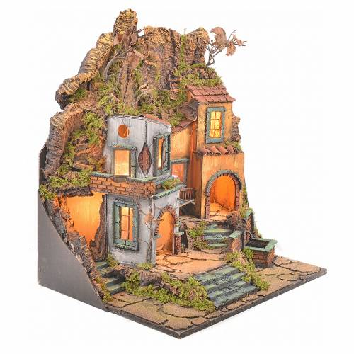 Borgo presepe napoletano stile 700 con 3 case e luce 57x50x40 s6