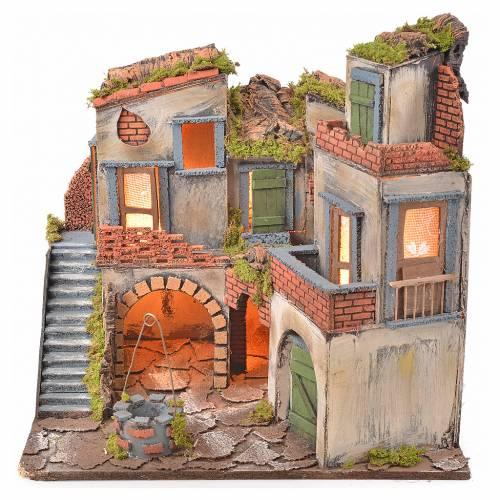 Borgo presepe napoletano stile 700 con pozzo e luce 45x55x38 s1