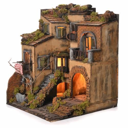 Borgo presepe napoletano stile 700 e fontana cm 50x40x44 s3
