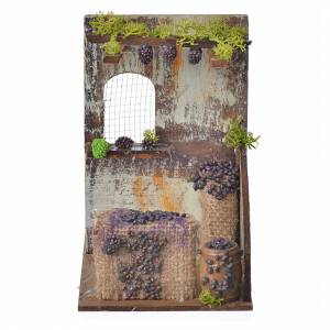 Ambientazioni, botteghe, case, pozzi: Bottega vendemmia presepe cm 15x9,5x9,5