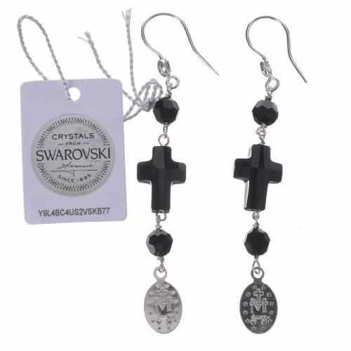 Boucles argent 800 croix et médaille Miraculeuse s2