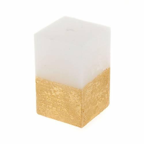 Bougie de Noel, demi tour, blanc et or, 5.5 cm de diamètr s1