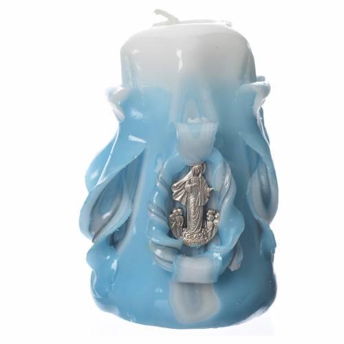 Bougie Medjugorje bleu 8x4,5 cm s1
