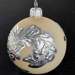 Boule de Noel décorée argent verre ivoire 6 cm s2