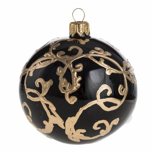 Boule de Noel noire or 8 cm s1