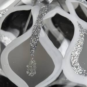 Boule de Noel transparente décorée argent glitter s3