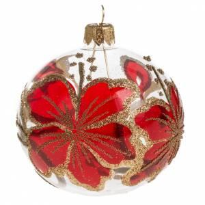 Boule de Noel transparente décors or rouge 8cm s1
