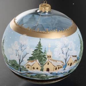 Boule de Noel verre église enneigée 10 cm s3
