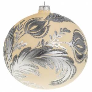 Boule de Noel verre ivoire décor florale 15 cm s1