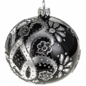 Boule de Noel verre noir peint à la main argent 10 cm s1