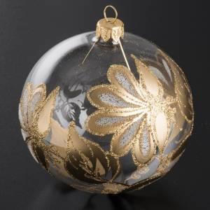 Boule de Noel verre transparent décorée or 10 cm s2