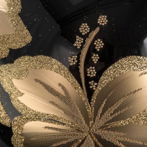 Boule de Noel verre transparente noire fleur dorée 15cm s3