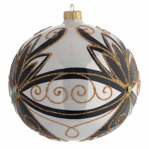 Boule Noël décor noir or brillant fleurs 150 mm s2