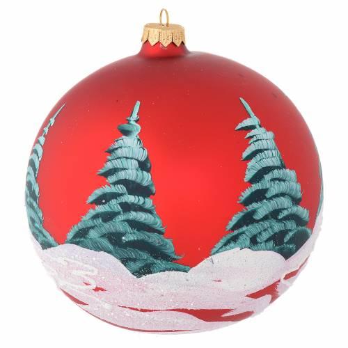 Boule Noël verre rouge maisons et arbres 150 mm s2