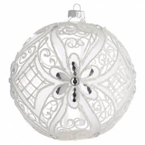 Boule pour Noël décor blanc mat et transparent 150 mm s1