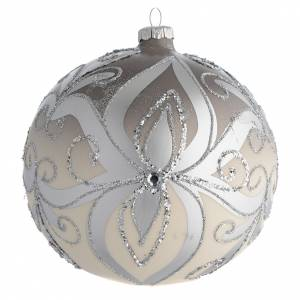 Boule sapin Noël verre soufflé argent 150 mm s1