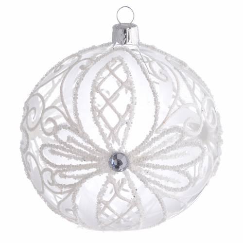 Boule sapin Noël verre transparent blanc 100 mm s1
