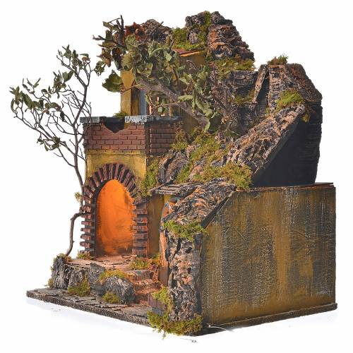 Bourg en miniature crèche Napolitaine style classique cascade s3