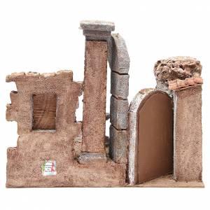 Bourgade avec colonne et décor crèche 35x35x25 cm s4