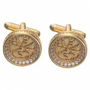 Boutons de manchettes arg 800 doré symbole Pax 1,7 cm s1