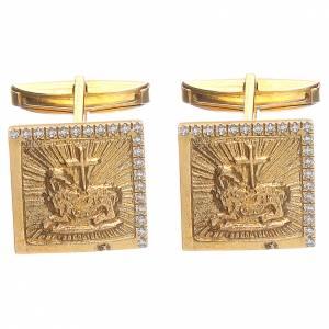 Boutons de manchette religieux: Boutons manchettes bijoux arg 800 doré Agnus Dei 1,7x1,7 cm