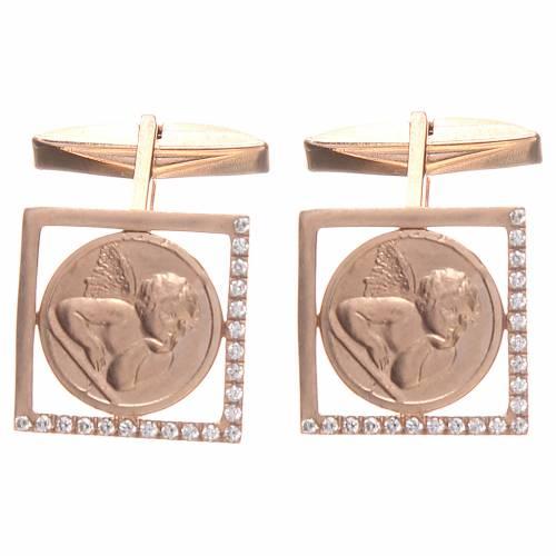 Boutons manchettes en argent 800 rosé ange Raphaël 1,7x1,7 cm s3