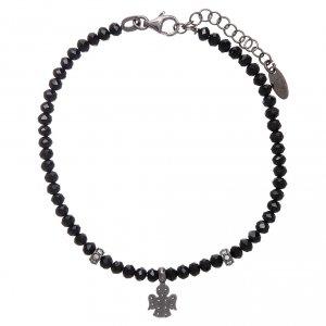 Bracciale AMEN Arg 925 cristalli neri angelo rodiato zirconato s2