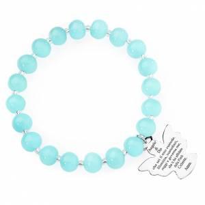 Bracciale AMEN perle Murano azzurro 8 mm argento 925 s1