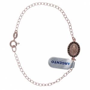 Bracciale con medaglietta Madonna Miracolosa zirconi verdi argento 925 color rosé s1