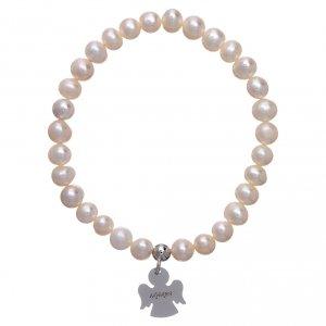Bracciale elastico con perle tonde 6 mm AMEN Arg 925 s2
