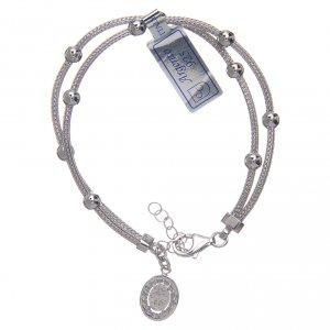 Bracciale  in argento 925 rodiato medaglia Miracolosa con strass s2