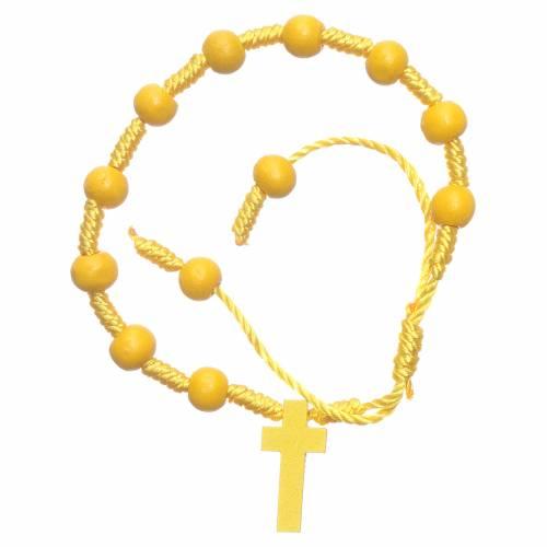 Bracciale in corda grani legno giallo diametro 8 mm s1