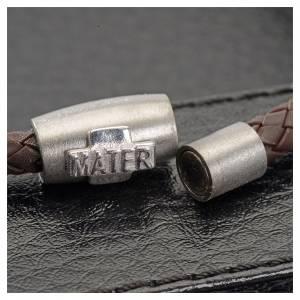 Bracciali in argento: Bracciale MATER marrone croce argento 925