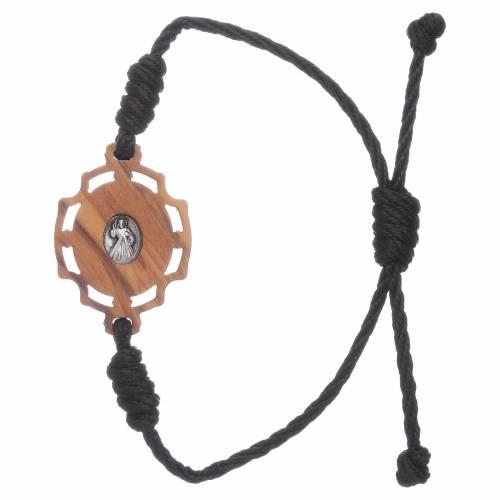 Bracciale Medjugorje immagine Gospa in ulivo e corda nera s2