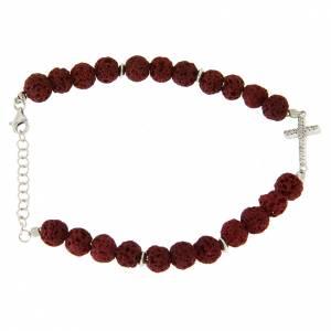 Bracciale perline pietra lavica rossa - argento 925 e inserto croce zirconata bianca s2
