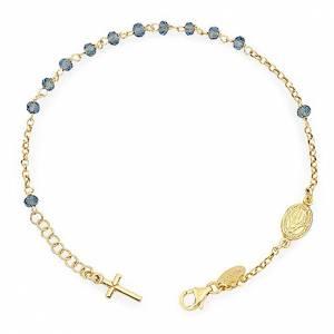 Bracciale rosario AMEN croce charm crist verdi arg 925 fin. Giallo s1