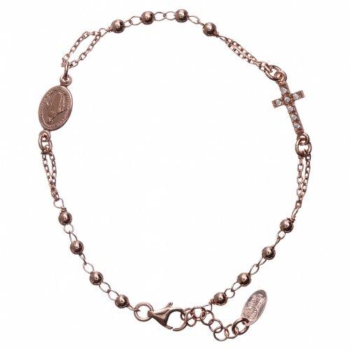 Bracciale rosario AMEN Croce Pavè arg 925 fin. Rosè s1