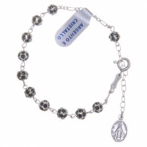 Bracciale rosario grani strass neri s1