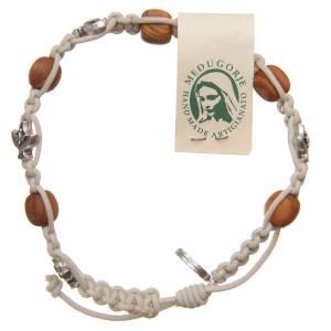 Braccialetto Medjugorje corda beige grani legno ulivo s1