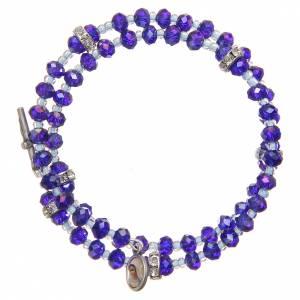 Bracelets, dizainiers: Bracelet à ressort perles violet bleu croix Notre-Dame Medjugorje