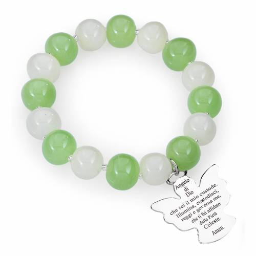 Bracelet Amen perles verre Murano blanc-vert 10 mm argent 925 s1