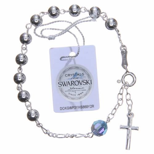 Bracelet argent 800 6 mm pater Swarovski bleu ciel s2