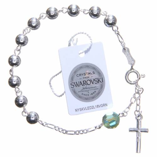 Bracelet argent 800 6 mm pater Swarovski vert s2