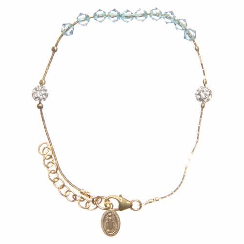 Bracelet argent 925 doré et Swarovski grains aigue-marine s2