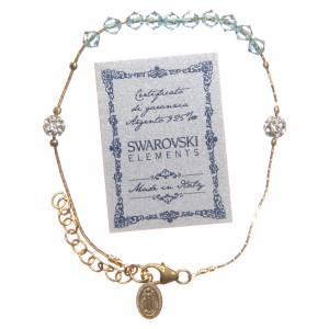 Bracelet argent 925 doré et Swarovski grains aigue-marine s3
