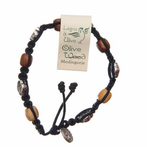 Bracelet bois d'olivier croix Saint Benoît corde bleu foncé s2