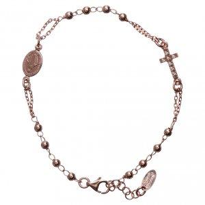 Bracelet chapelet AMEN croix argent 925 fin. rosée s1